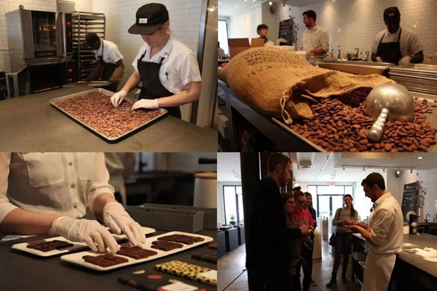 今天不和大家讲皮具加工厂,换个轻松话题讲讲巧克力工厂。在纽约布鲁克林有一个MAST位于威廉斯堡的旗舰店。对于不少巧克力爱好者来说,MAST 是一个值得到此一游的地方。 在 MAST 的作坊店里,顾客可以进入工厂内部进行参观,听店员细致地讲解巧克力的制作工序,还能品尝新鲜的可可果和烘培后的可可豆。在这里,有兴趣的人可以近距离观察制作工序:可可豆烘培、去壳、研磨、加料、凝固、融化、降温、定型、包装等等。也可以品尝味道各异的秘鲁、坦桑尼亚、马达加斯加、危地马拉、委内瑞拉、巴布亚新几内亚、多米尼加共和国等不同产地