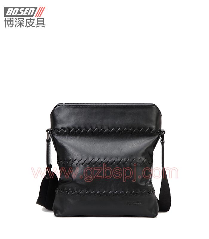 真皮男包厂高品质的手工编织男士真皮斜挎包真皮单肩包 BSMS005001