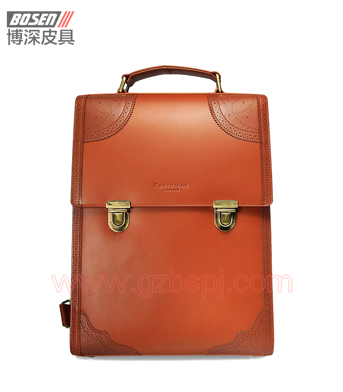 广州男包厂|皮包加工厂|博深皮具|高端真皮男士背包 BSBP001001