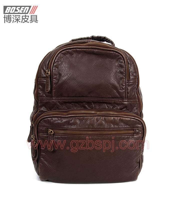 广州男包厂|皮包加工厂|博深皮具|高端真皮男士背包 BSBP008002